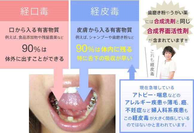 経口毒:口から入る有害物質。例えば、食品添加物や残留農薬など。90%は体外に出すことができる。経皮毒:皮膚から入る有害物質。例えば、シャンプーや歯磨き粉など。90%は体内に残る。特に舌下の吸収が早い。現在急増しているアトピー・喘息などのアレルギー疾患や薄毛、癌、不妊症など婦人系などもこの経皮毒が大きく関係しているのではないかと言われています。